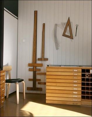 Slatted wood storage.