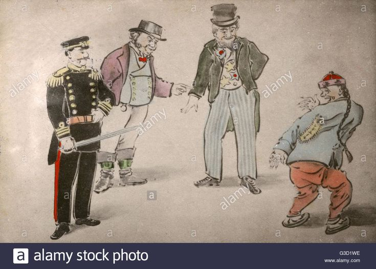 Japanese Anti-Chinese Propaganda featuring a representation of Japan (as a military General), alongside John Bull (Britain) and Uncle Sam (USA) - mocking a stereotypical pigtailed Chinese man with some form of derogatory note pined to his back.     Date: Stock Photo