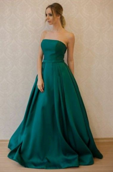 439d544a26a3 elegant strapless dark green satin prom dress with sash, chic a-line dark  green party dress with pleats