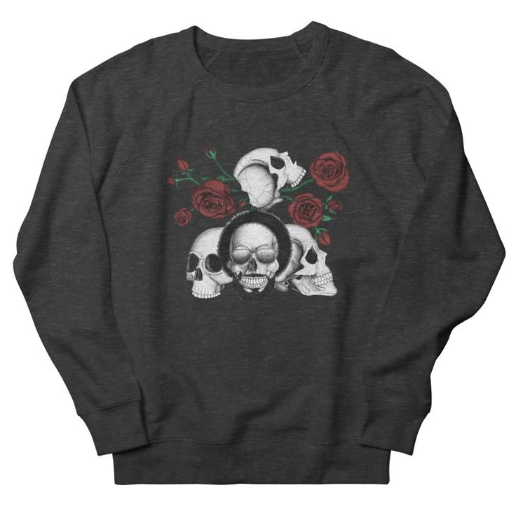 Grunge skulls and roses (afro skull included. Color version) by #Beatrizxe | #threadless #tee #shirt #fashion #sweatshirt Ink drawing of four skulls with a grunge and tattoo style. It is inspired in grunge, punk and rock music.  As background I added some roses with their stems and thorns. #skull #skulls #grunge #punk #rock #sunglasses #tattoo #rose #stem #thorns #death #dead #bones #black #white #ink #music #skeleton #illustration #artwork #drawing #art #tattooDesign #tattooStyle