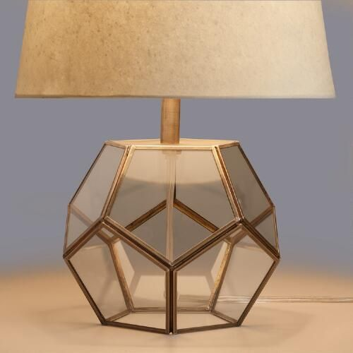 WorldMarket.com: Glass Hexagon Accent Lamp Base  - I think these would look wonderful beside the bed,