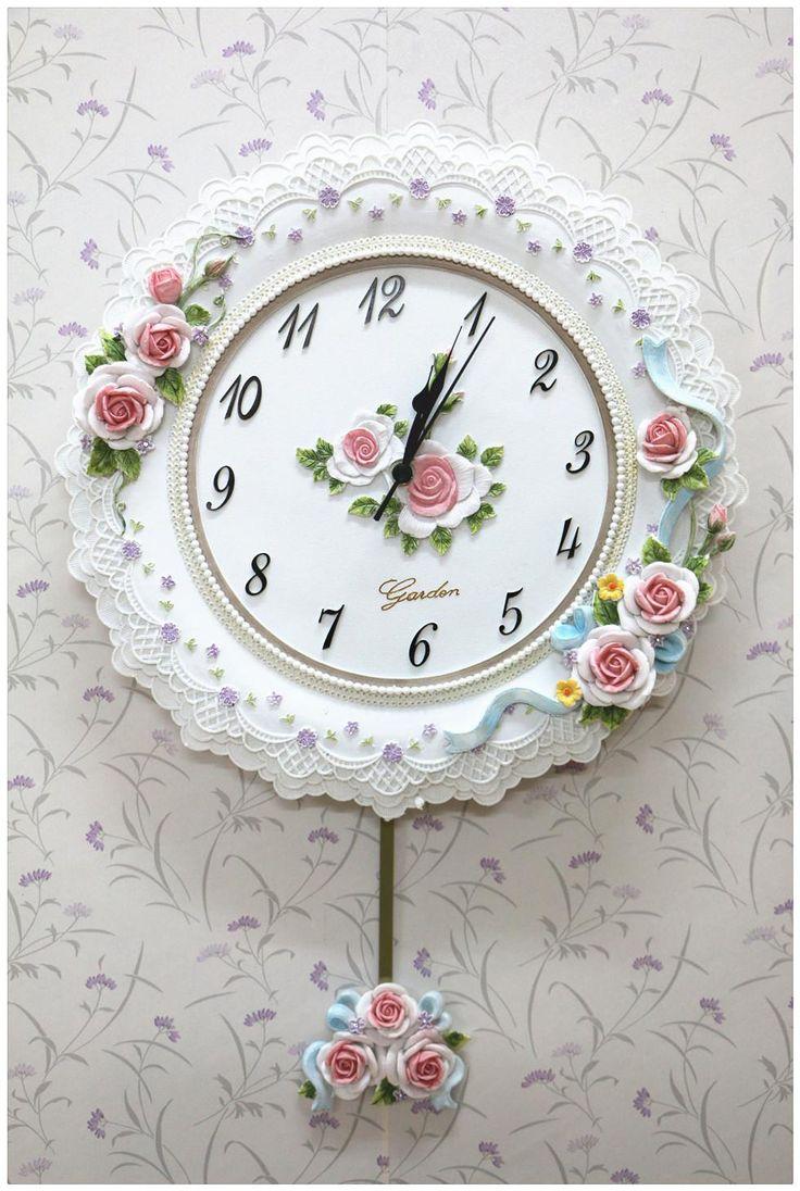 Horloge Murale Wand Beobachten Europischen Erleichterung Stieg Dekorativen Uhr Pendel Widget Haushaltstat Wohnzimmer Schlafzimmer