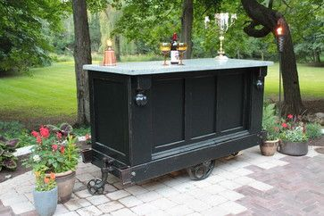 Bar Cart with Cast Concrete Top, Antique Cart - eclectic - bar carts - chicago - Elemental Outdoor Living