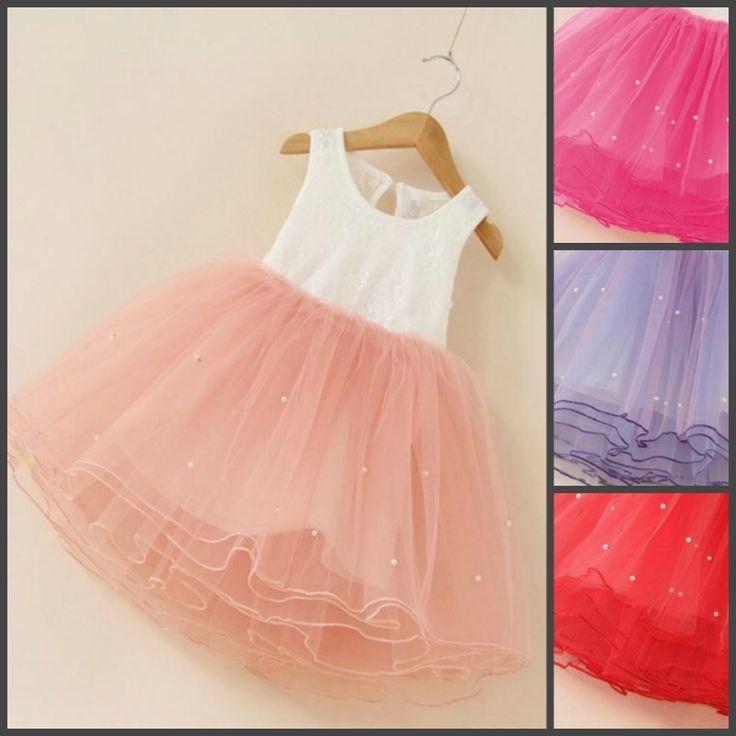 Нарядное детское платье-принцесса с  кружевным верхом и жемчугом на юбке (в наличии бело-розовое и бело-персиковое 3Т рост 100см) - 18026