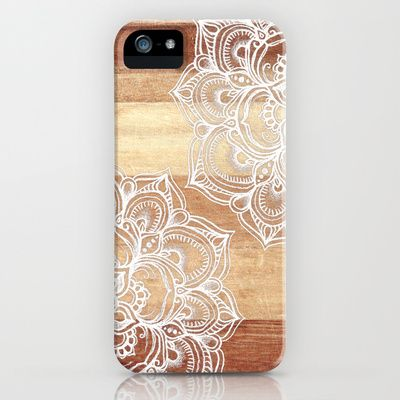 White doodles on blonde wood - neutral / nude colors iPhone & iPod Case by Micklyn - $35.00
