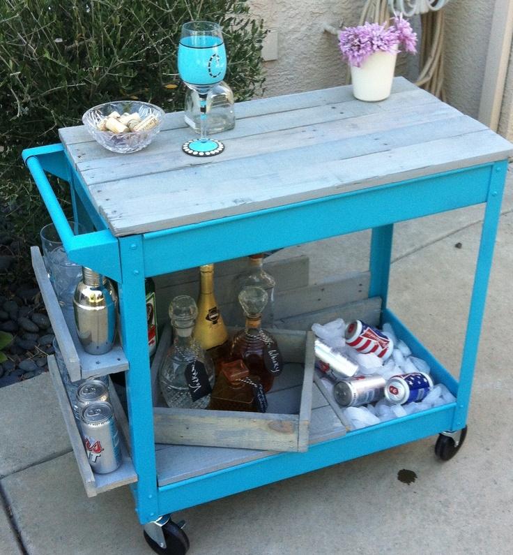 Elegant Bar Cart with Cooler