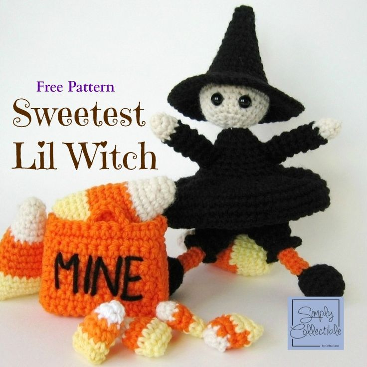 Sweetest Lil Witch free crochet pattern and tutorial by Celina Lane, SimplyCollectibleCrochet.com Try this adorable set for Halloween.