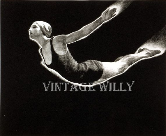 Woman diving art  vintage photograph digital print instant