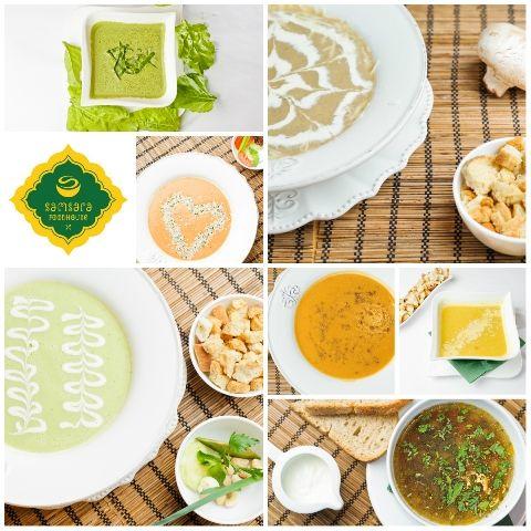 Supe, supe-cremă, ciorbe raw-vegane, vegane şi vegetariene.