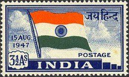 This is the first stamp of independent India which depicts the tricolor flag of the nation. It also depicts the word 'Jai Hind' (Long Live India) in Hindi on the right side of the flag, and the date of independence i.e. 15 August 1947 on the left side  The value of this stamp was 3.5 Aanas and was for foreign correspondence.