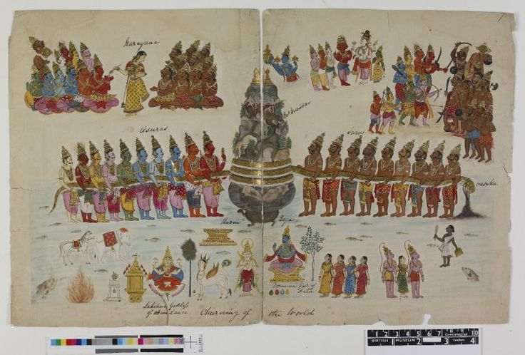 Gouache painting on paper from a portfolio of sixty-three paintings of deities and daily life. Painting on two sheets of paper (taped together) depicting The Churning of the Milky Ocean. In the centre of the page is mount Mandara with a serpent coiled around, being used to churn the ocean to release the Amrita (nectar of immortality) and other precious objects. Other deities are shown surrounding this central scene. Company School 1820 (circa), Tamil Nadu [?] Andhra Pradesh [?] paper; gold…