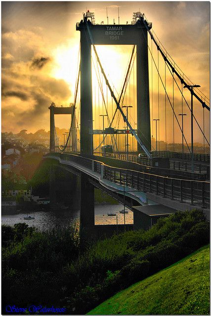 Tamar Bridge - located in Saltash, Cornwall England - carrying traffic between Cornwall and Devon.