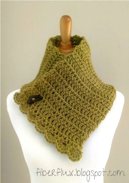 Fiber Flux...Adventures in Stitching: Free Crochet Pattern...Lemon Balm Button Cowl