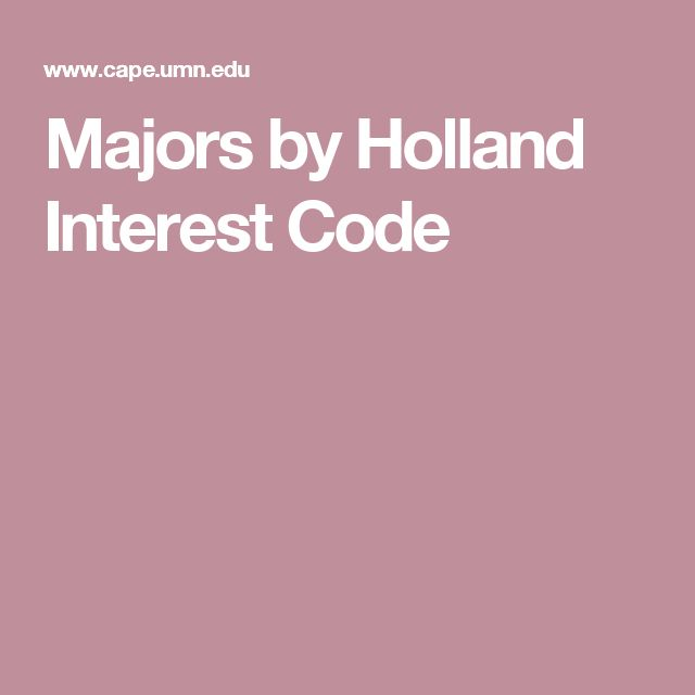 Majors by Holland Interest Code