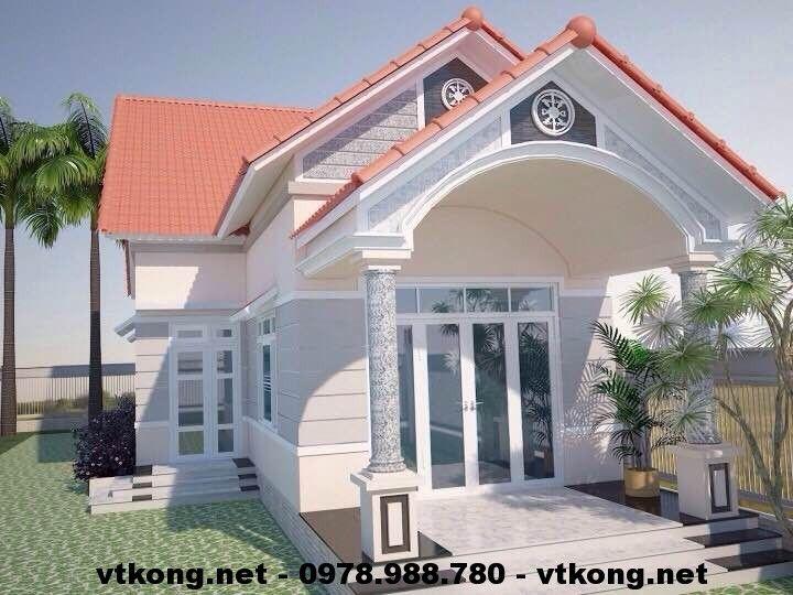 Mẫu nhà cấp 4 mái thái, thiết kế nhà cấp 4 mái thái NETNC4105
