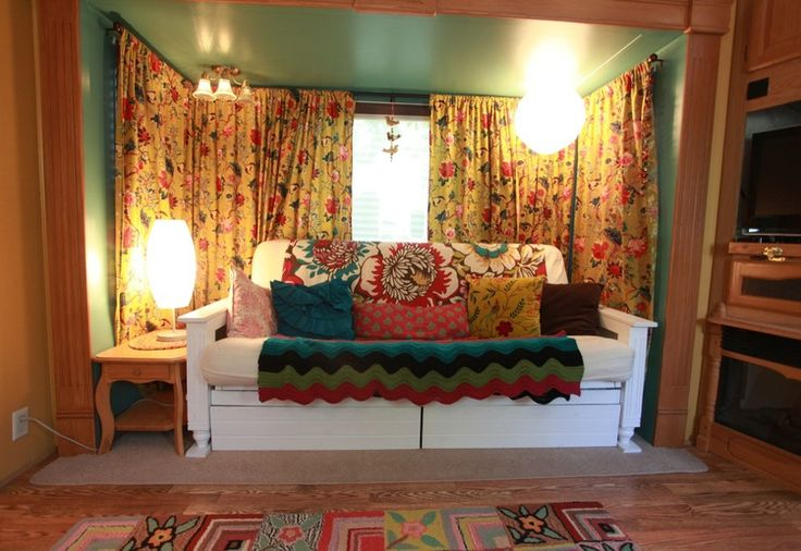 rv remodel gallery — Nesting Gypsy, looks like it would lay down, and has pull out drawers for storage.