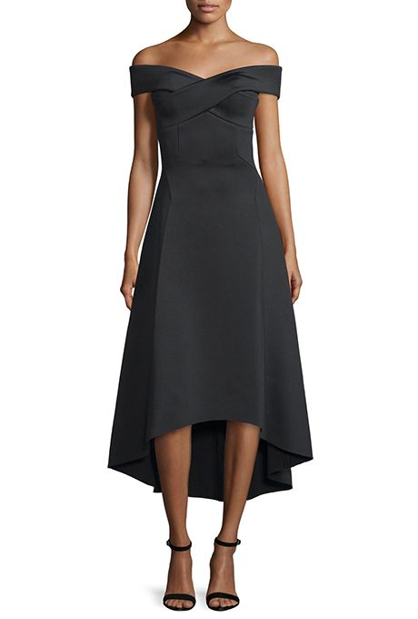 "Brides.com: . ""Enico"" off-the-shoulder scuba-neoprene dress, $1,199, Rachel Gilbert available at Neiman Marcus"