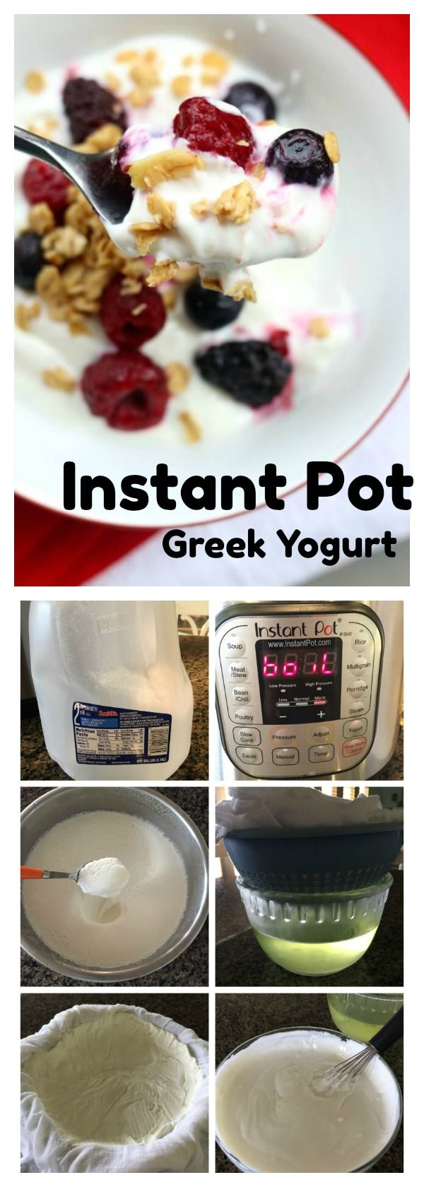 Instant Pot Greek Yogurt–thick and creamy, this yogurt can be made at your own house in your Instant Pot…it's like magic! You only need a gallon of milk and 2 tablespoons of yogurt to make this recipe. #instantpot