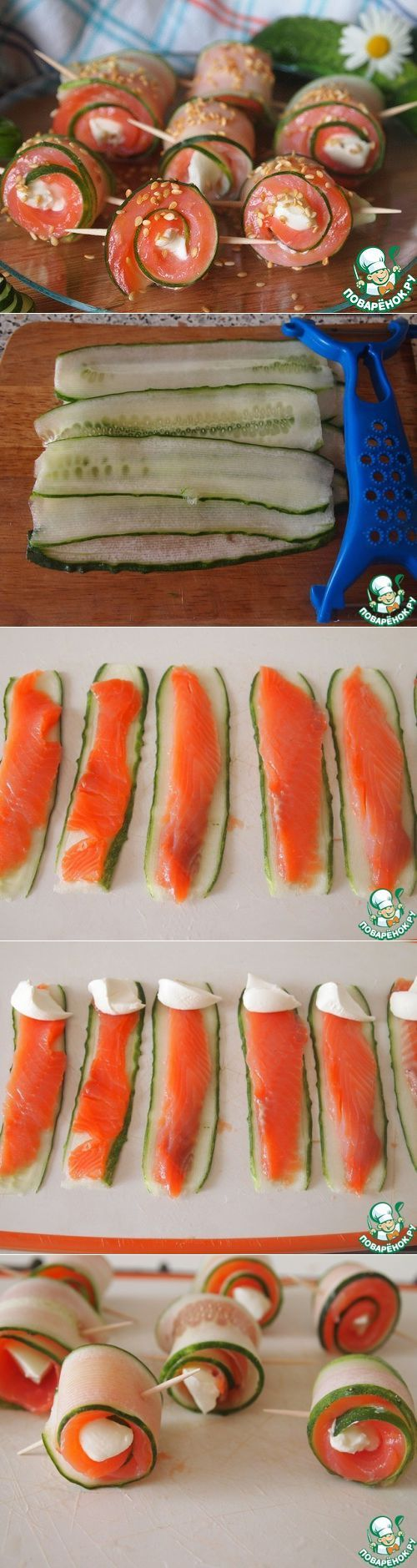 Bocado rollos de salmón con pepino.