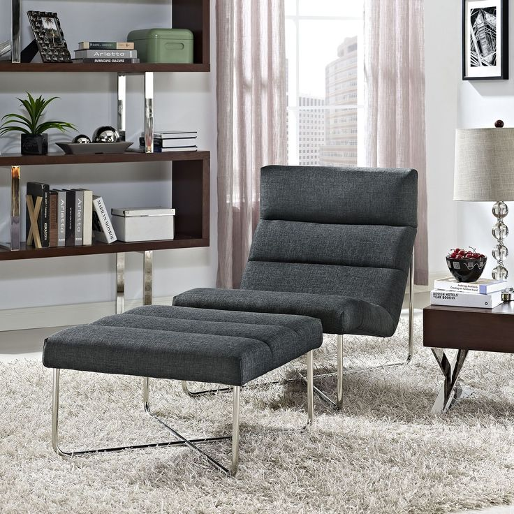 Reach Living Room Set Set of 2, Gray - Supremely comfortable, exceptionally supportive, Reach is a lounge chair and ottoman series that has your every need covered. Sip your beverage of choice while conversing or reading in this immensely enjoyable chair. Made with plush deep-seated fabric cushions, well-positioned vertical head posture support, and a polished steel base, much planning and effort went into the development of Reach's design. The Reach lounge chair and ottoman series is…