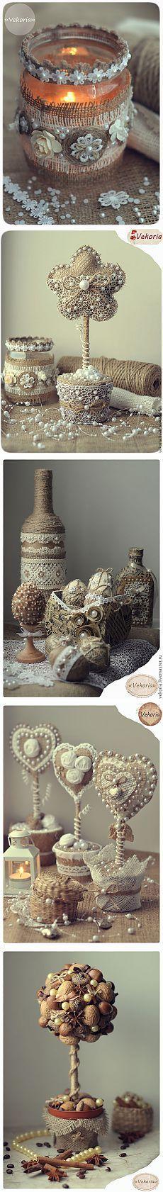 Винтажные работы из мешковины, кружева, джута и кофейных зерен. Мастер-класс по подсвечнику от Виктории Сакур.