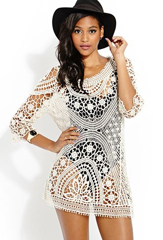 Swimsuit Cover Up Femme Crochet Dress Forever21 2000123068 My Style In 2018 Pinterest Dresses And Fashion