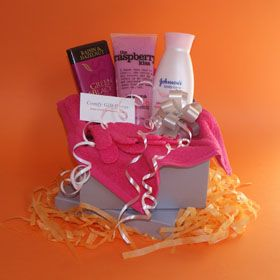 Pamper gifts for women, Birthday gifts for her, raspberry body scrub, organic chocolate and body lotion pamper gifts