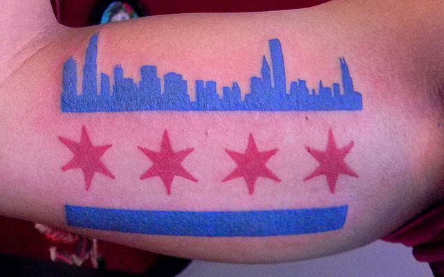 chicago flag with skyline   Tattoo Factory - call 773 989-4077