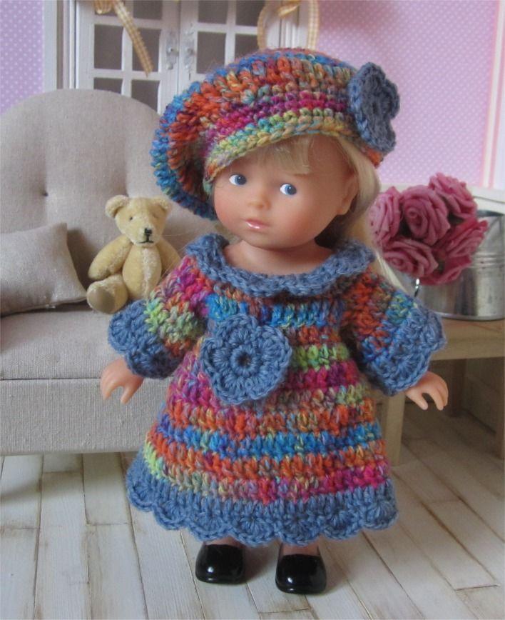 """113- FICHE PATRON CROCHET Ensemble """"Arc en ciel"""" pour poupée Mini Corolline : Jeux, jouets par atelier-crochet"""