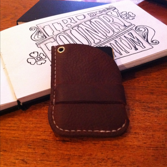 Wulf inspired leather wallet, back side.