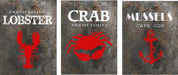 Crab art, Lobster art, Mussel Art Prints for the beachhouse, nautical wall decor, coastal living