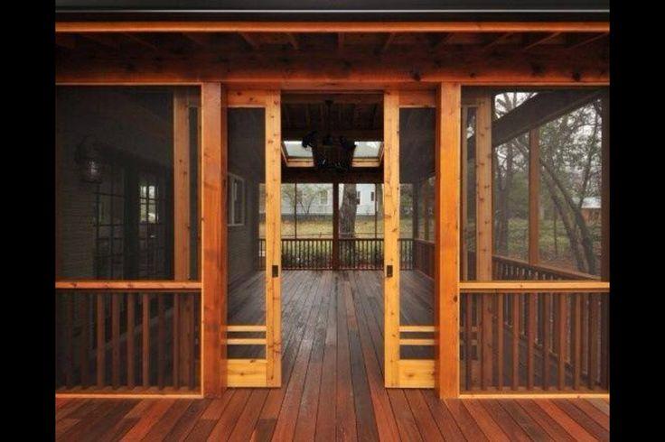Screened porch sliding barn doors log cabin pinterest for Log cabin screened in porch