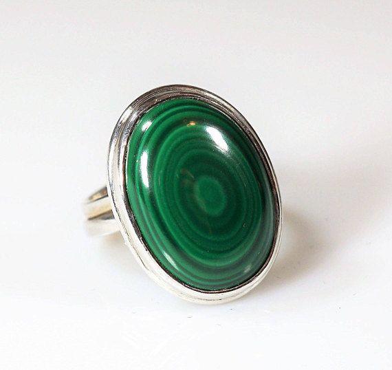 Handmade Sterling Silver Malachite Ring 10g