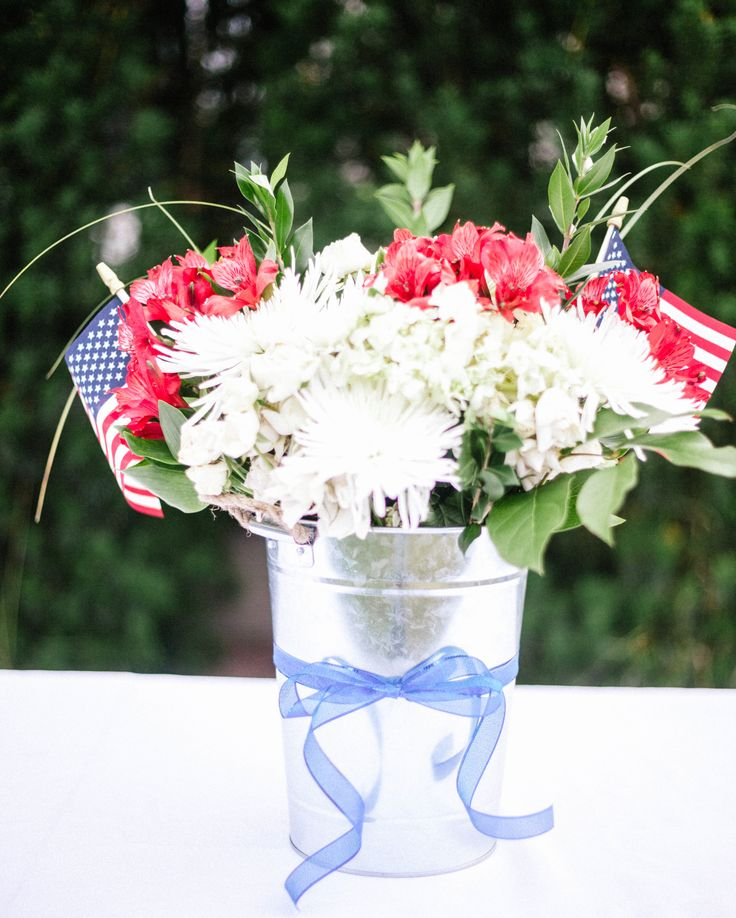 Patriotic Floral Arrangement in a Bucket 451