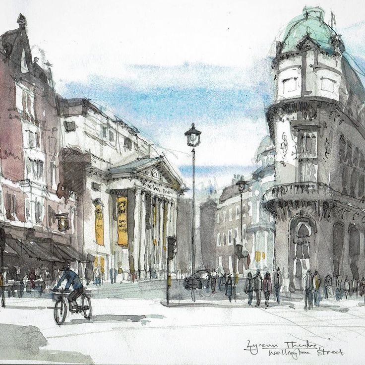The Lyceum Theatre built in 1834 by Samuel Beazley - and showing the Lion King (almost) ever since... This was sketched from the terrace of a café on the other side of the Strand.  #watercolour #LyceumTheatre #London #sketch #urbansketchers #art #painting #watercolour_gallery #watercolor #londonart #strand #archilovers #archisketcher