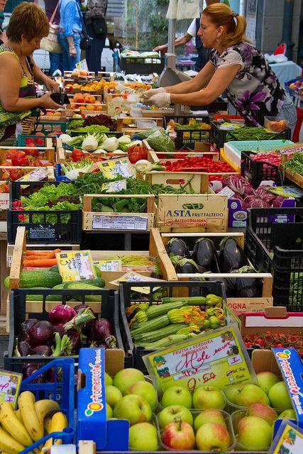 Fruit market in Rapallo, Liguria, Italy