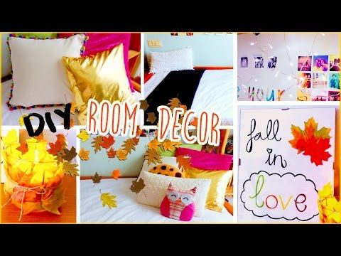 DIY Fall room decor! Spice up your room with no sew pillows, cheap tumblr decorations & more! - YouTube