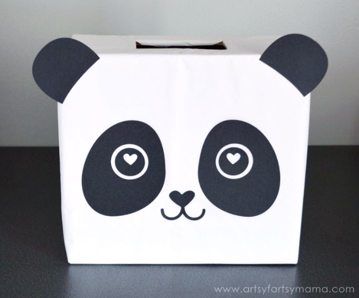 Panda Valentine Card Box at artsyfartsymama.com