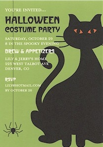 Cosmic Creeper Black Cat Halloween Invitation.
