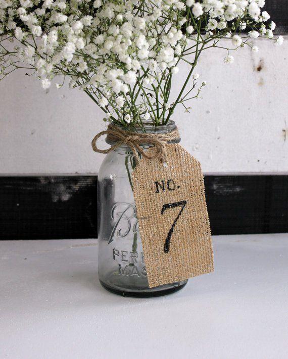 burlap table number on mason jar