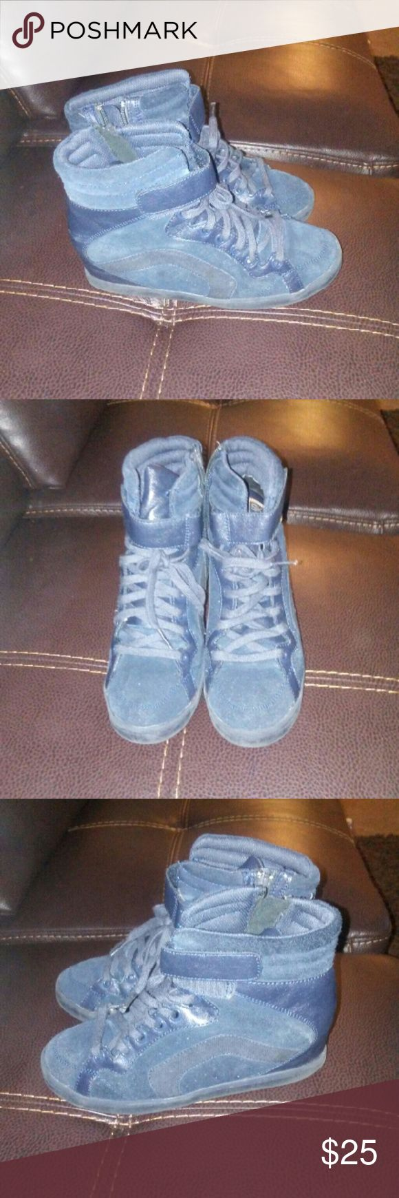 Sketchers wedge sneakers. Suede navy blue. Worn about 3 times. Skechers Shoes Sneakers