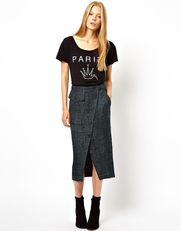 Pencil Skirt with Button Front Detail by: Asos