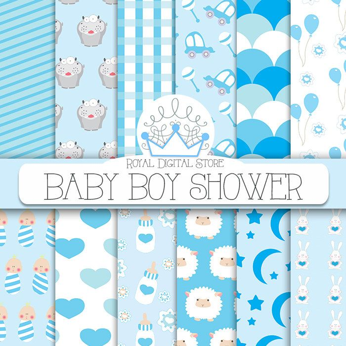 Baby Boy Digital Paper: 'Baby Boy Shower' with baby boy, car, hippo, sheep, balloons, flowers, bunny, stars, for scrapbooking, cards #baby #blue #planner #scrapbookpaper #digitalpaper