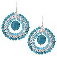 Semi precious turquoise stones are a trend bubbling over soon to explode. Be ahead of the pack, be fashion forward wear chic hoop earrings full of femininity @Kirsten Goss