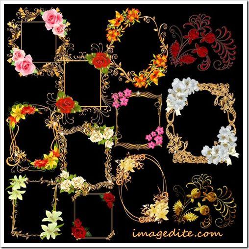 Golden jewelry flowers frame