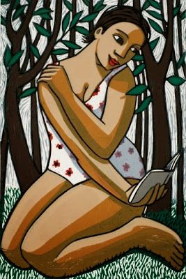 Reading in the woods by Anita Klein born February 14, 1960 in Sydney, Australia living in UK