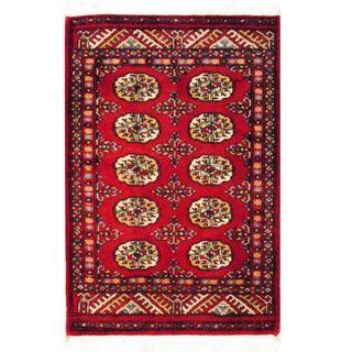 Herat Oriental Pakistan Hand-knotted Bokhara Red/ Ivory Wool Rug (2u0027 x 3u0027)