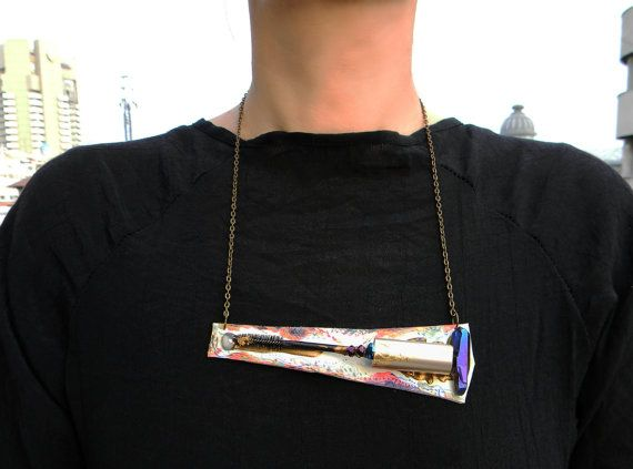 Contemporary necklace Hand painted leather Industrial by Elyseeart