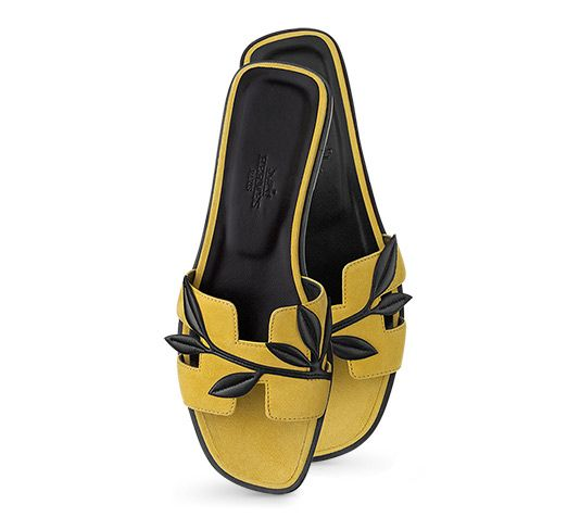 Oran Hermes ladies' sandal in suede goatskin and Nappa calfskin, leather sole and black lining