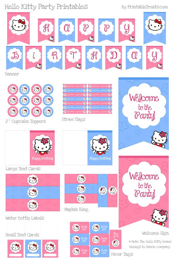 Hello Kitty Birthday Party Printables FREE!!  Best person EVER!!  Thank you to whomever did this for free!!